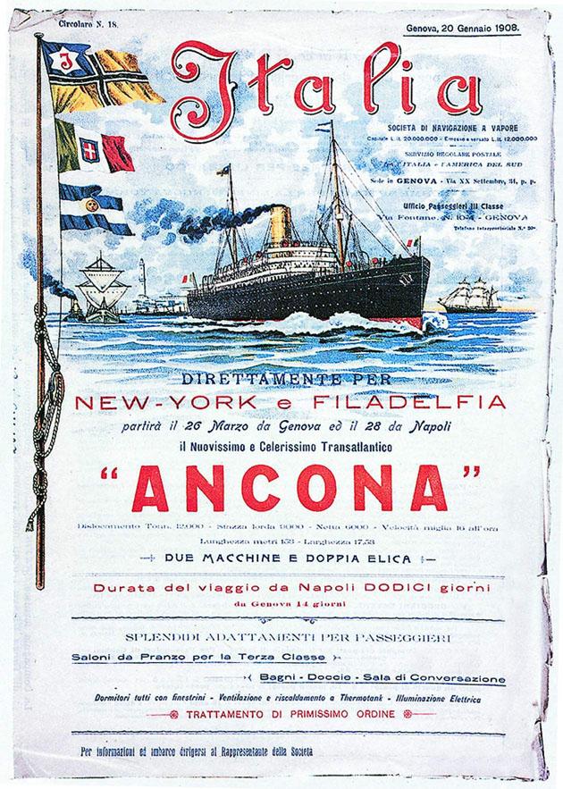 1908 - Manifesto pubblicitario di una nuova linea di navigazione della società Italia verso gli USA