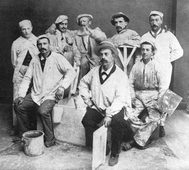 1930 - Le puy en Velay (Francia) - Muratori italiani durante la costruzione di un ospedale