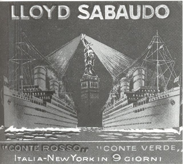 1905-10 - La società di navigazione Lloyd Sabaudo di Genova reclamizza con una cartolina la celerità dei suoi piroscafi Conte Rosso e Conte Verde