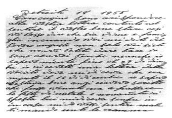 1955 - Detroit (Michigan-USA) - Lettera di Augusto Spanicciati a un cugino di Norcia.