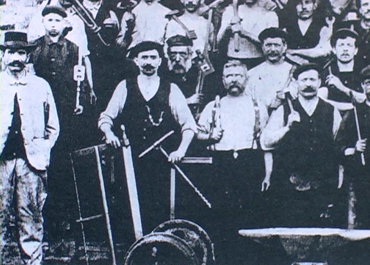 1893 - Esch-sur-Alzette (Lussemburgo) - Lavoratori delle acciaierie Aachener