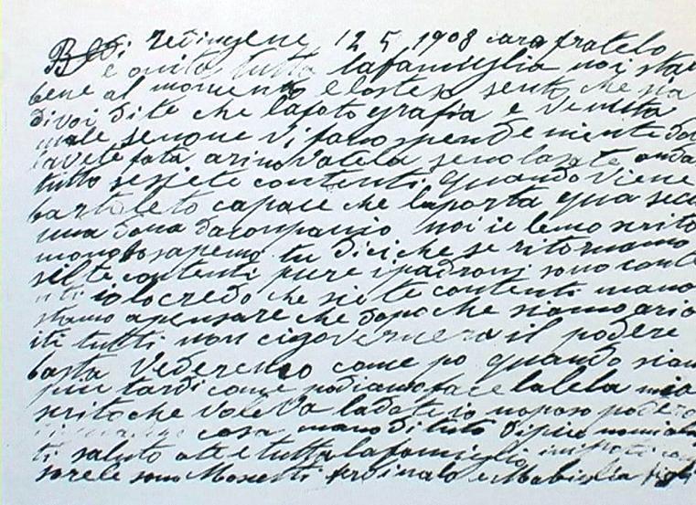 1908 - Redingen (Germania) - Lettera di un emigrato di Gubbio al fratello