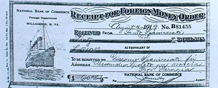 1919 - Vaglia utilizzato da emigranti negli USA per inviare denaro alle famiglie
