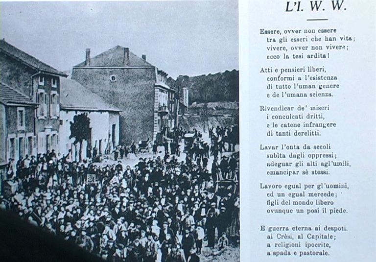 "1910 - Villerupt (Francia) - Minatori in sciopero e poesia di Efren Bartoletti dedicata all'""Industrial Workers of the world"""