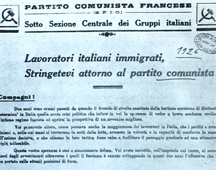 1926 - Manifesto del PCF rivolto ai lavoratori immigrati italiani