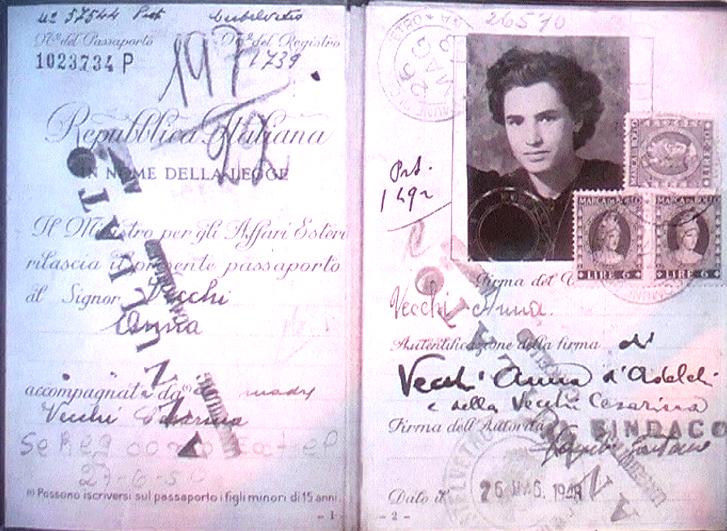 1948 - Passaporto di emigrante emiliana